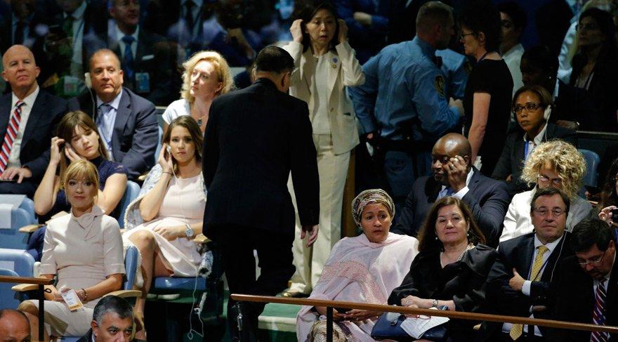Trump kürsüdeyken Kuzey Kore elçisi böyle kaçtı