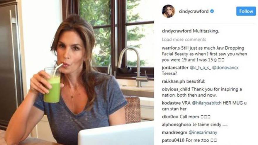 Süper model Cindy Crawford, kahvaltısını Instagram'da paylaştı
