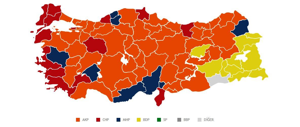 30 Mart 2014 yerel seçimlerinin ardından tablo şu şekildeydi.