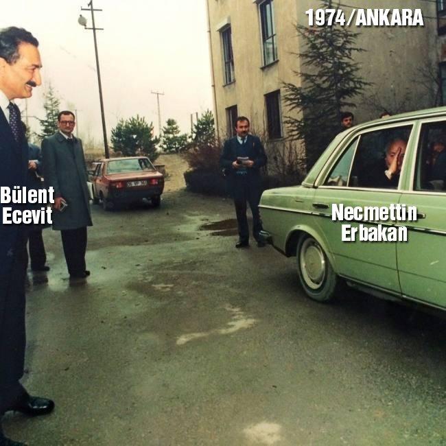 1974-ANKARA Ecevit, Erbakan'ı böyle uğurluyor...