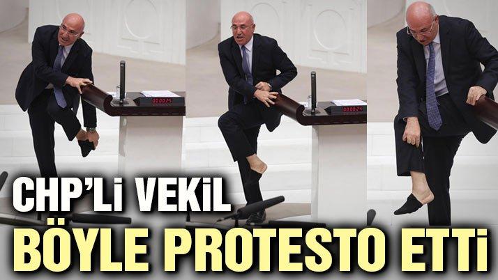 CHP'li Mahmut Tanal kürsüde çorabını çıkardı