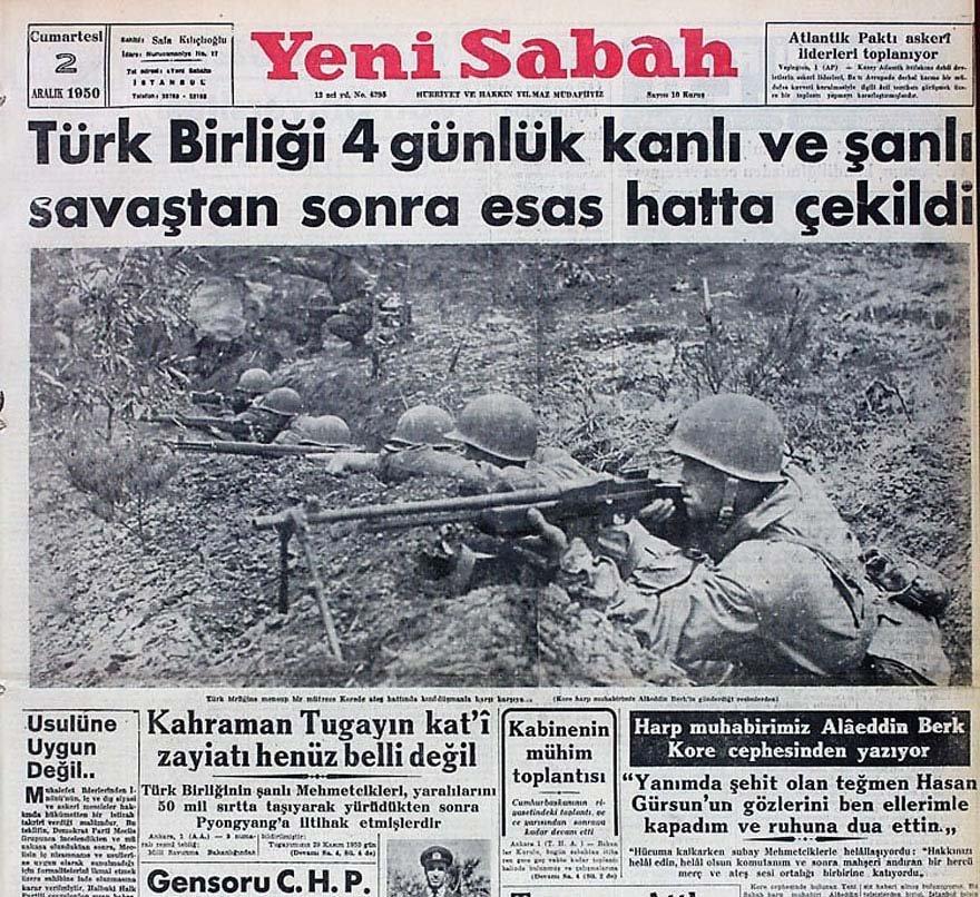 Kore'de savaşan Mehmetçikle ilgili haberler gazetelerin ilk sayfalarında...