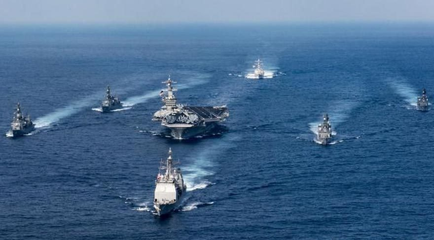 Kuzey Kore nöbetindeki ABD uçak gemileri böyle görüntülendi