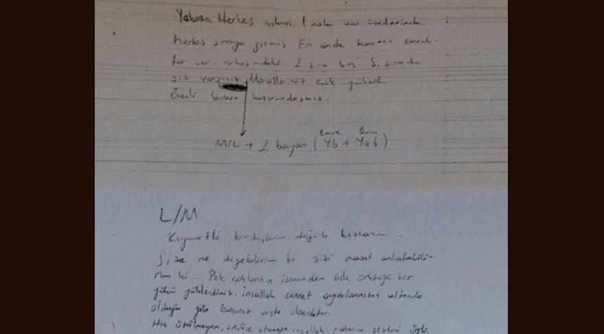 Akıncı Üssü davasında sanıklardan ele geçirilen ilginç not