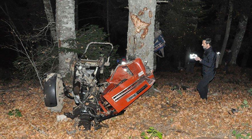 Traktör uçuruma yuvarlandı! 2 ölü