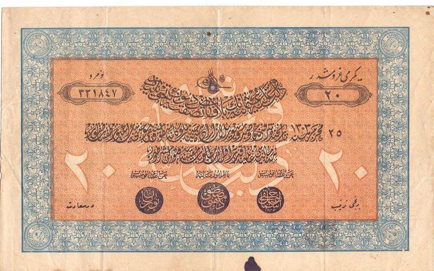 II. Abdülhamit dönemindeki 20 Kuruşluk tahvillerden biri...