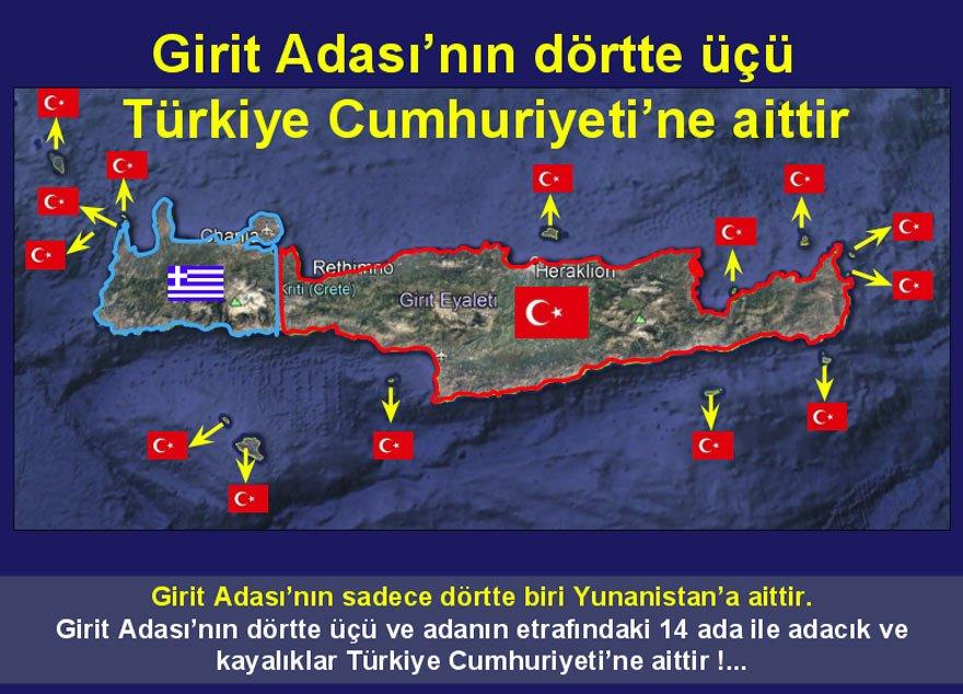 Ümit Yalım, Girit Adası'nda Türkiye'ye ait yerleri haritada işaretledi.