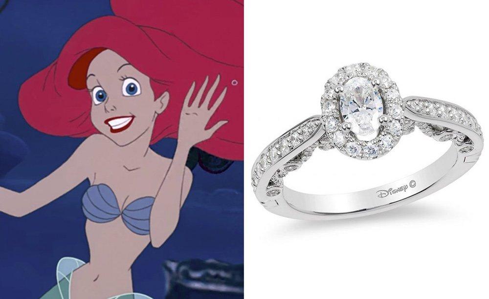 Ariel'den esinlen yüzükte 1 karat elmas ve 14 beyaz altın bulunuyor. Fiyatı 2.183,30 dolar