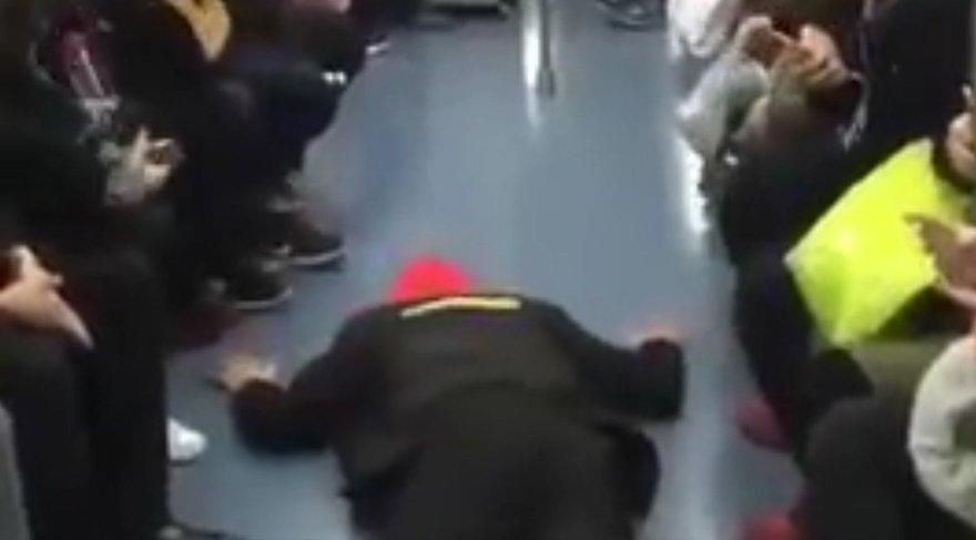 Metroda oturabilmek için 'kriz geçirdi'
