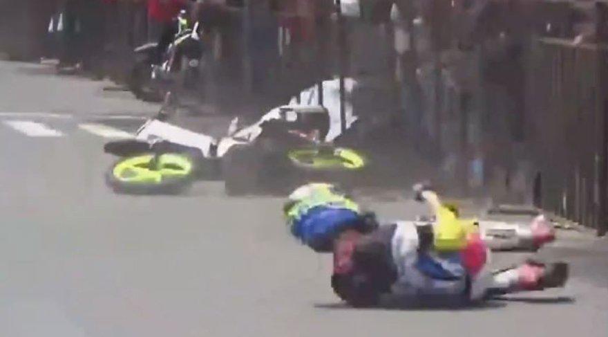 Motosiklet yarışında düşürülen pilotun intikamı acı oldu!