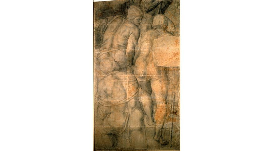 Michelangelo Buonarroti, Cartoon with a Group of Soldiers for the Crucifixion of Saint Peter Drawing (1542-46)