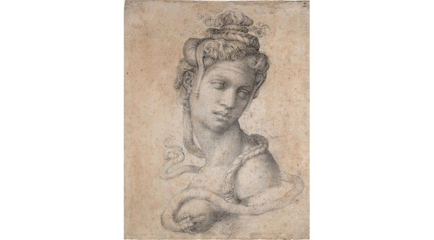 Michelangelo Buonarroti, Female Figure Seen in Bust-Length from the Front (Cleopatra) (1530-33)