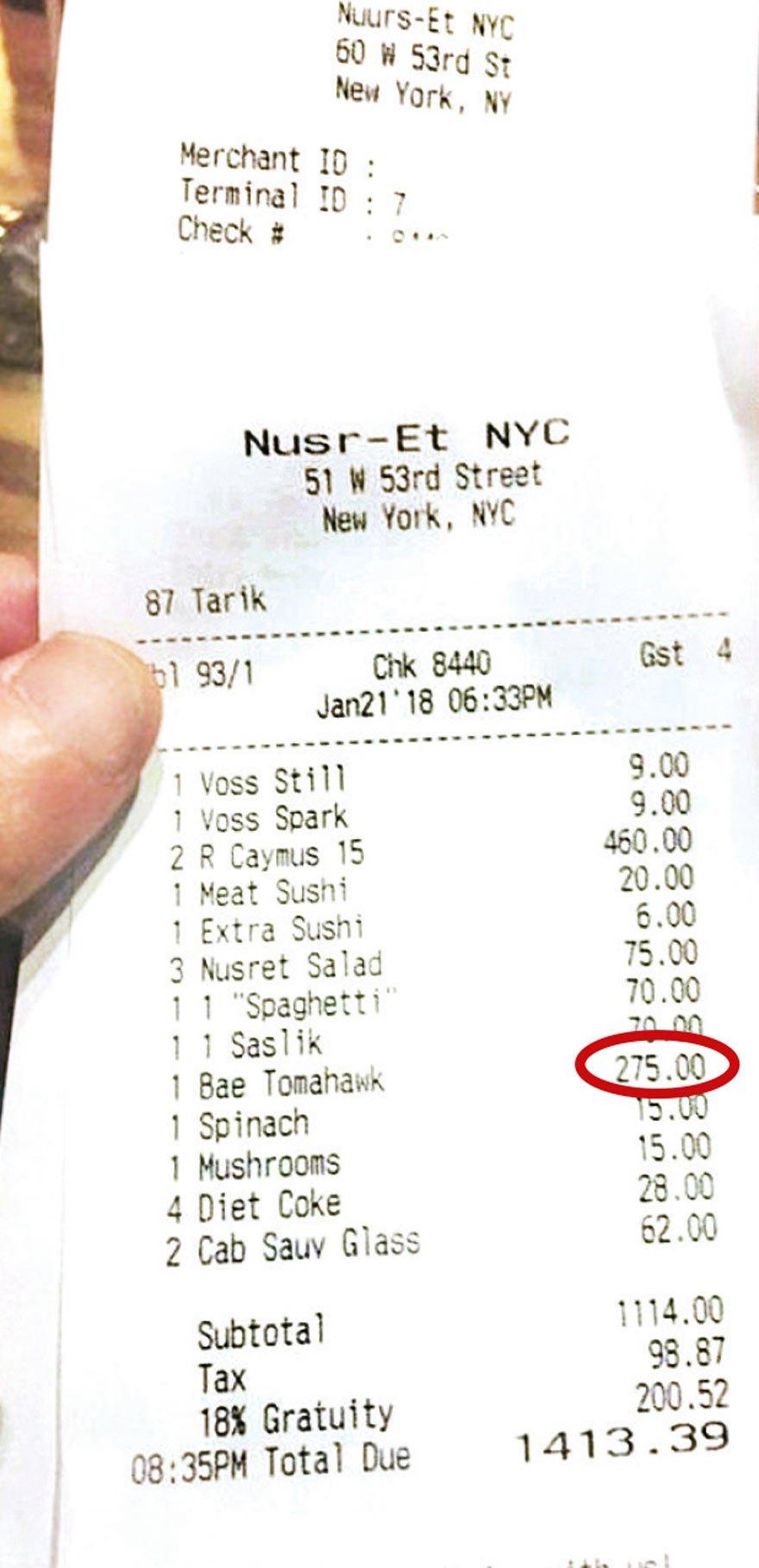 1 PORSİYON ET 275 DOLAR! Esra Öziskender adlı kadının paylaştığı adisyonda bir ete 275 dolar yazıldığı görünüyor.