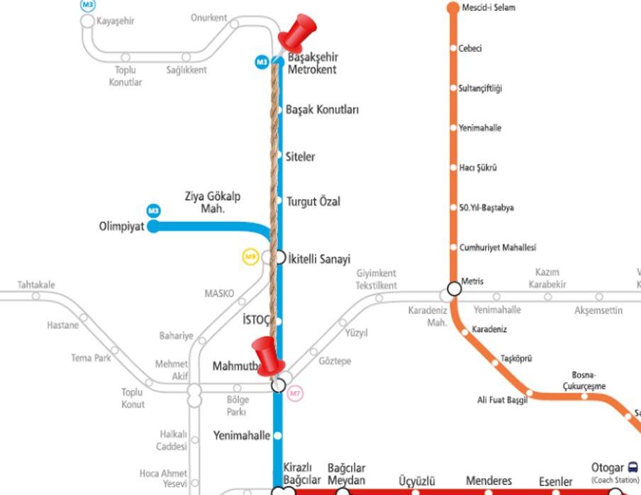 Mahmutbey-Bahçeşehir metro hattı
