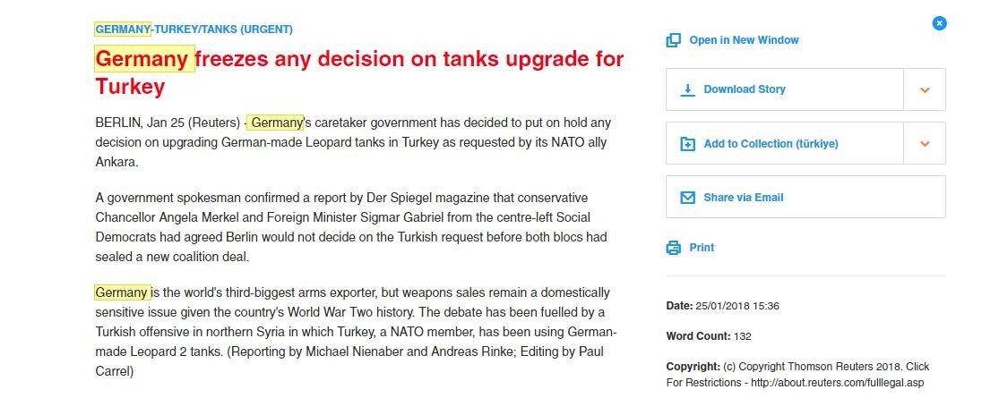 Reuters'ın 'acil' koduyla geçtiği haberde Alman hükümet sözcüsünün iddiayı doğruladığı belirtildi.