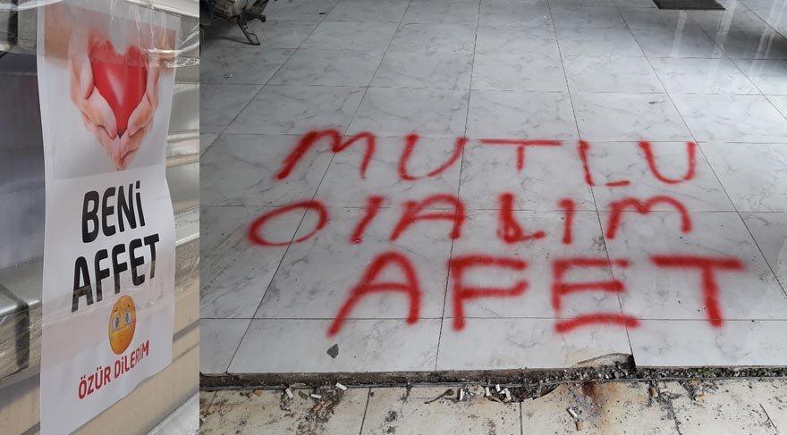 Antalya sokaklarında 'Beni Affet' afiş ve yazısı