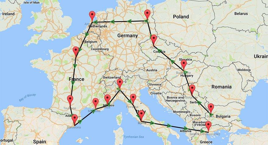 14 günlük Avrupa turunda tekrar otobüsle Selanik üzerinde yurda geri dönülüyor.