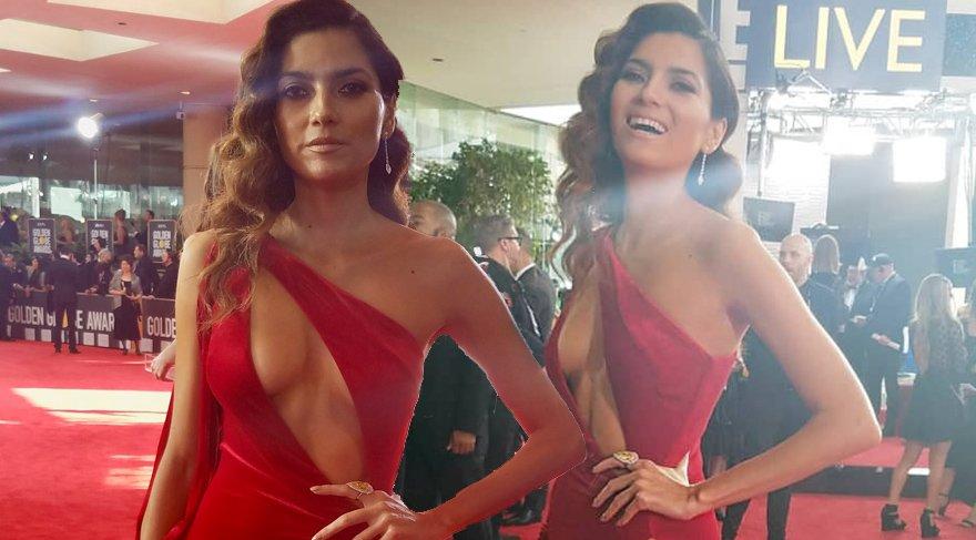 Blanca Blanco 75. Altın Küre Ödül Töreni'ne kırmızı giyerek geldi