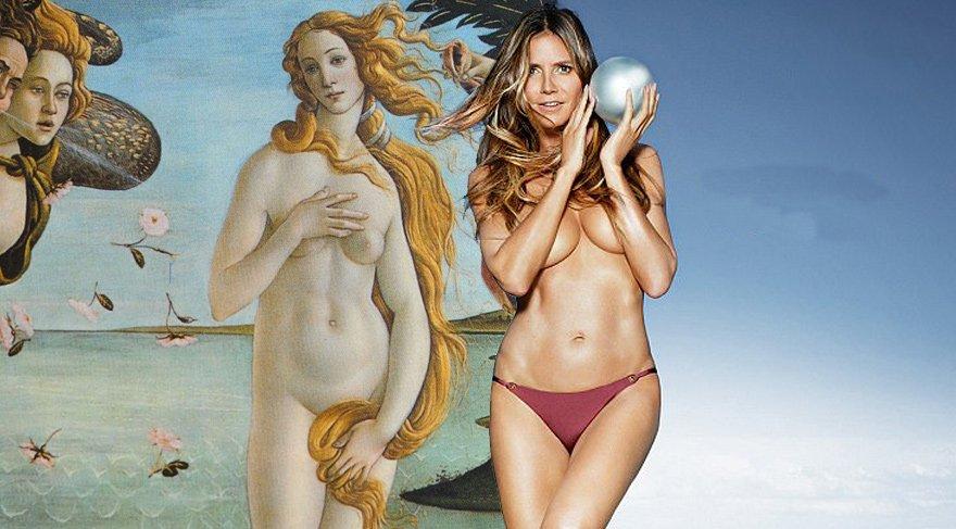 Heidi Klum'dan Venüs'ün Doğuşu'na gönderme