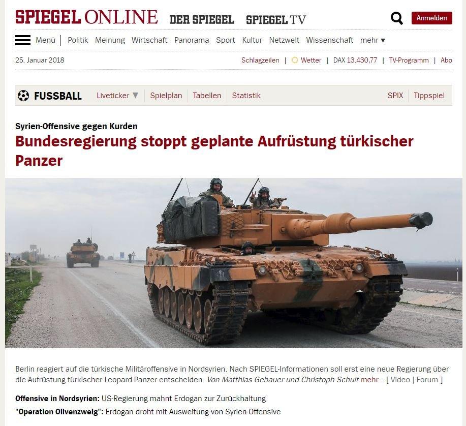 Alman haber dergisi Der Spiegel, web sitesinden haberi böyle duyurdu.