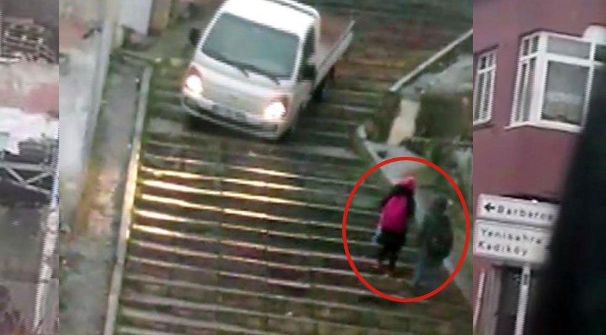 Merdivenlerden aracı ile inen sürücü gözaltına alındı