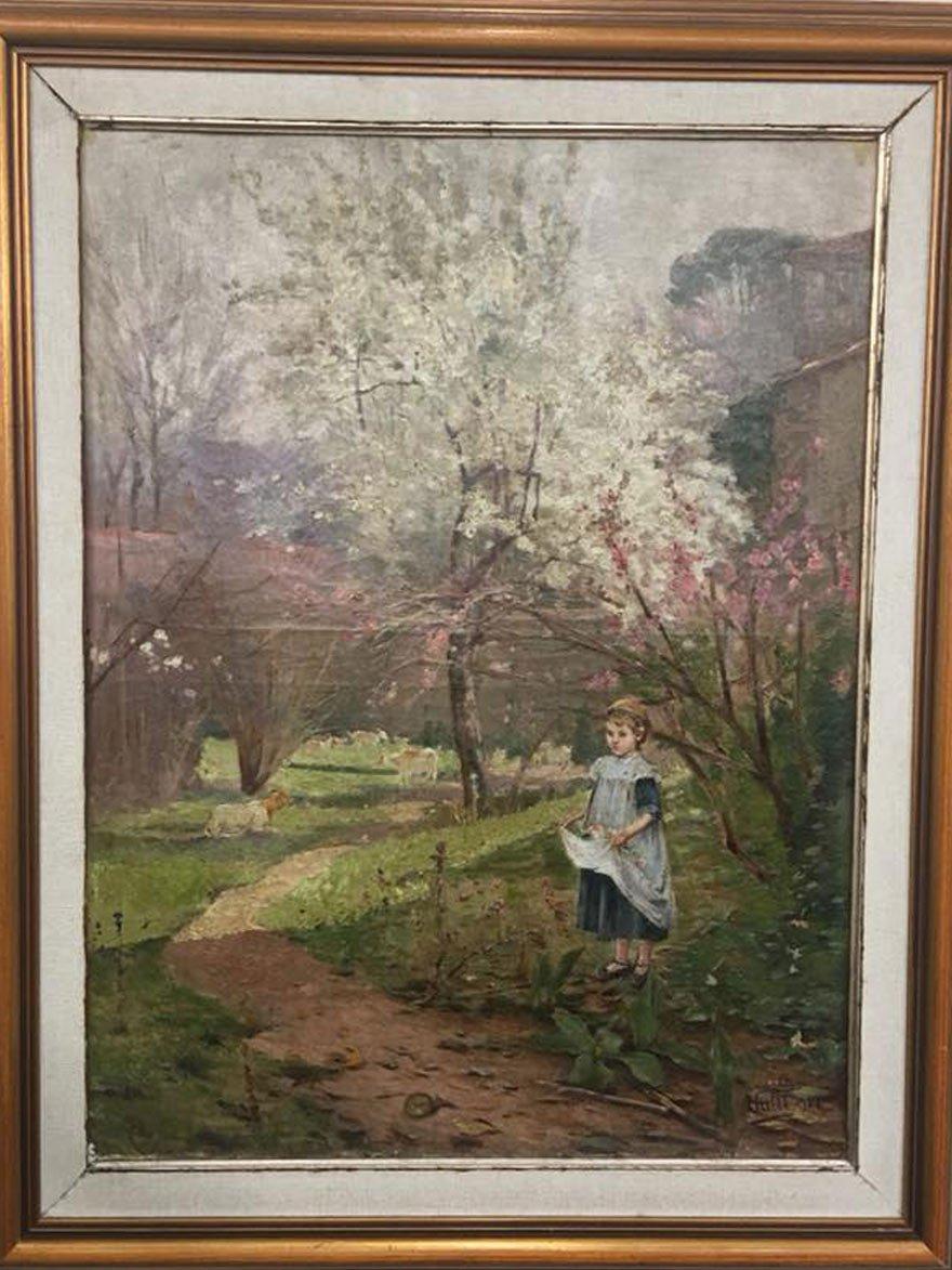 """Halkbank, 1991 yılındaki müzeyadede Halil Paşa'nın """"Çiçek Toplayan Kız"""" tablosuna 325 bin lira ödeyerek sahip olmuştu."""