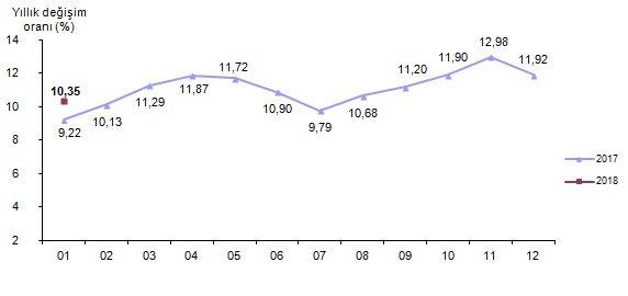 Tüketici fiyat endeksi, Ocak 2018 [2003=100]