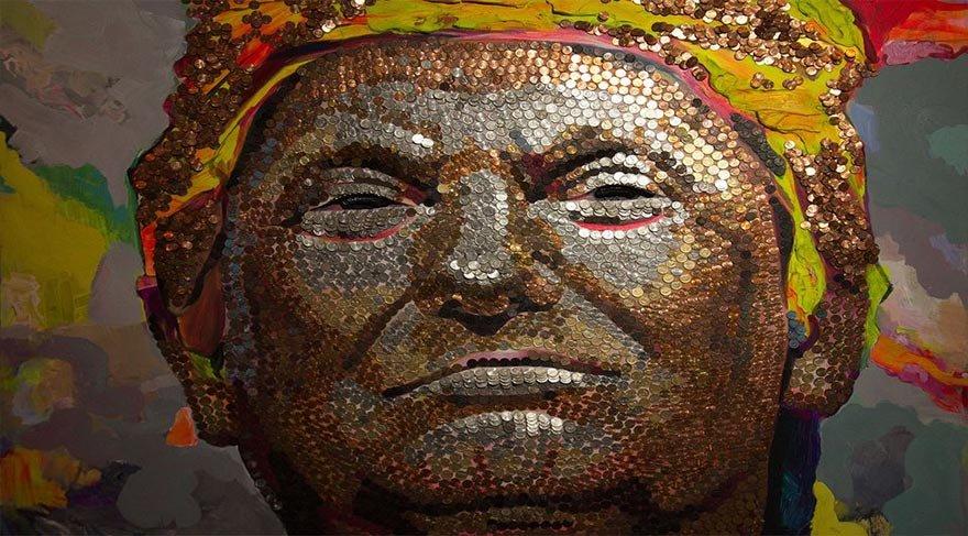 ABD başkanının portresini, bozuk paralardan yaptılar