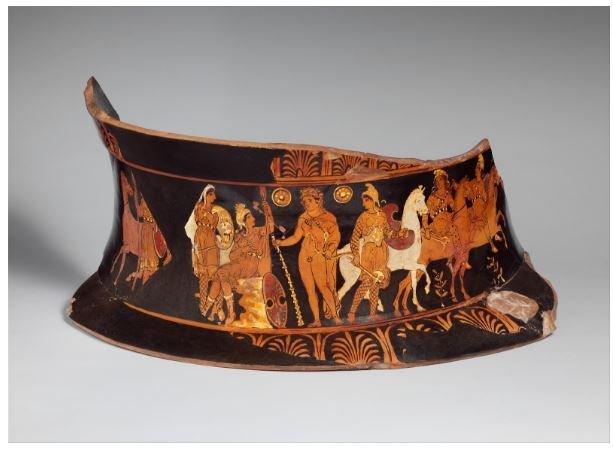 Amazonlar arasında resmedilen Amazon kraliçesi Hippolyte ve Herakles