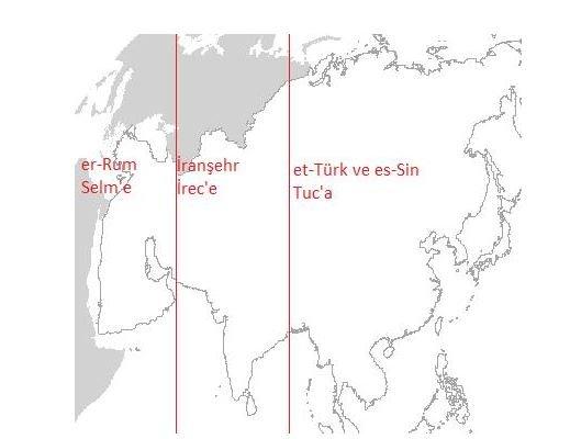 Dr. E. Sonnur Özcan: Biruni'nin Feridun Taksimi izahına göre eski dünyanın kısımları (Şablon harita: Michigan State University, Map Library)