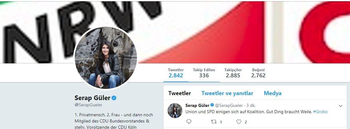 """Serap Güler, Twitter üzerinde yaptığı açıklamada, """"Birlik ve SPD koalisyon için anlaşma sağladı. Bekleyen en iyisini elde eder"""" yorumunu yaptı."""