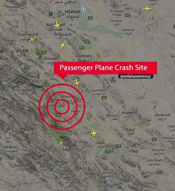 Uçağın düştüğü nokta resmi makamlar tarafından haritada gösterildi.