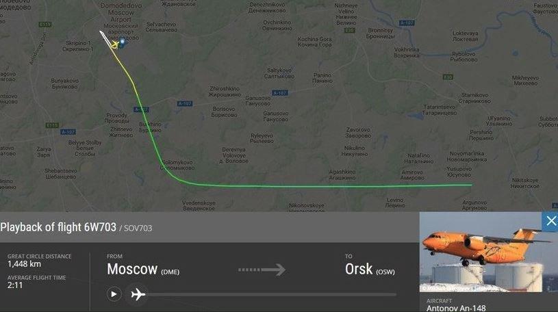 Uçağın rotası şu şekildeydi.