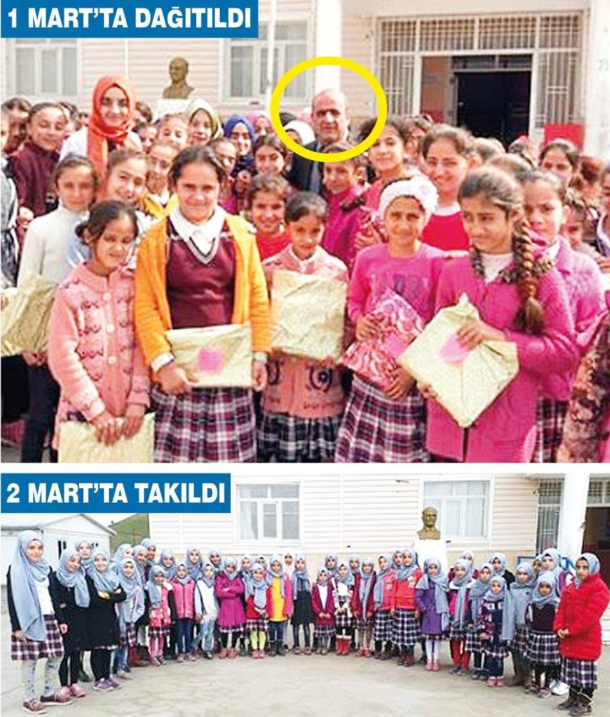 Silopi İlçe Milli Eğitim Müdürü, Şehit Binbaşı Ercüment Türkmen İmam Hatip Ortaokulu'na gitti, kızlara tek renk türban hediye etti