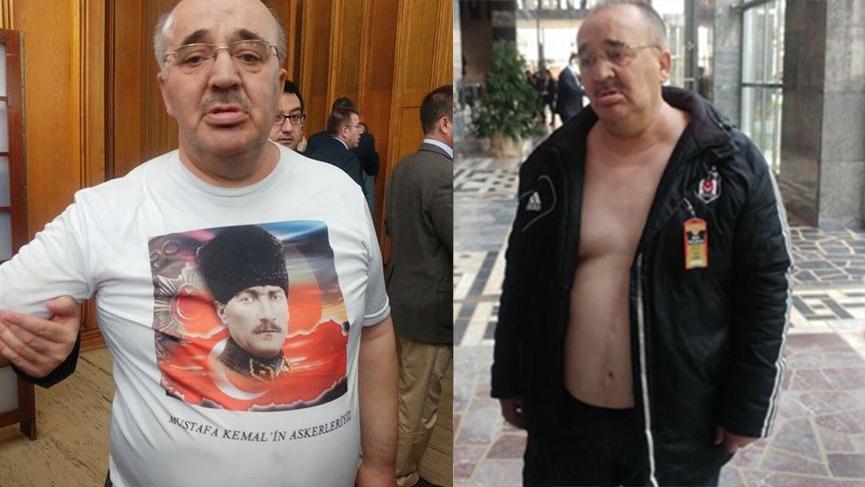 Atatürk tişörtü giydi Meclis'e giremedi