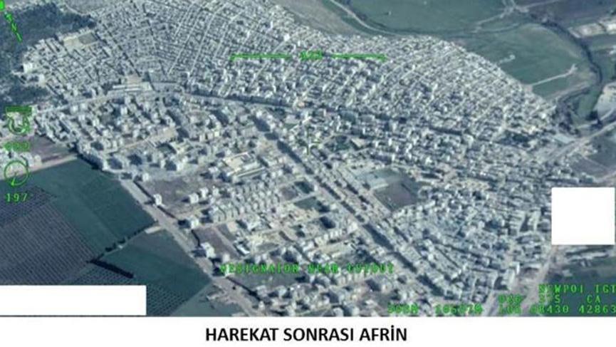 TSK, Afrin ilçe merkezinin havadan çekilen fotoğraflarını servis etti