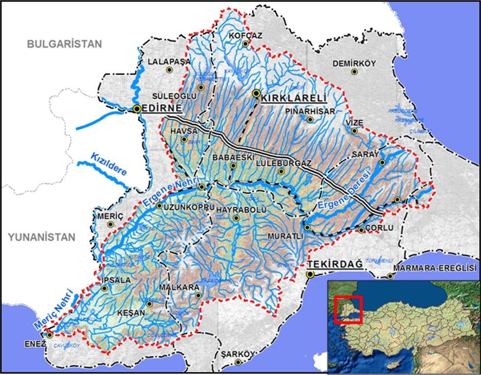 Ergene Havzası'nın ülkedeki yeri Kaynak: Orman ve Su işleri Bakanlığı