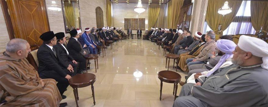 FOTO: İHA- Esed,Şam'da dini akademisyenler ve entelektüellerin katıldığı Ulusun Birliği Konferansı'nda!