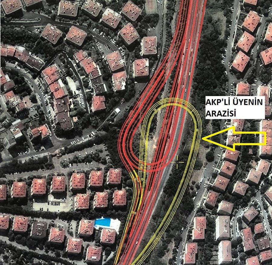 Plana göre, arazinin üstüne denk gelen sarı bölgeye kavşak yapılacaktı.