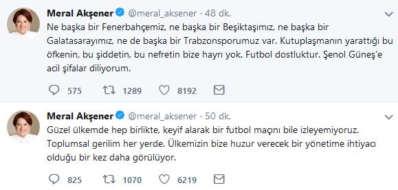 Akşener Twitter'dan taraflara itidal çağrısında bulundu.