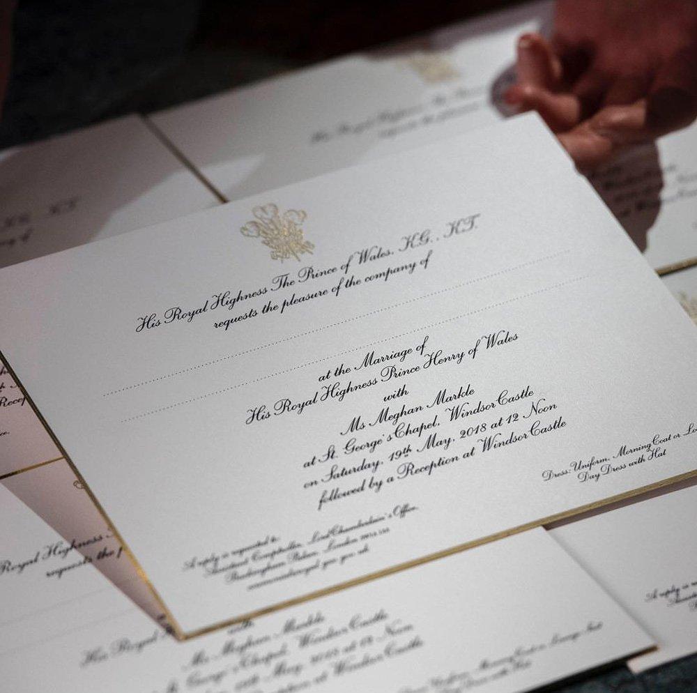 Meghan Markle ve Prens Harry'nin davetiyesi, Kensington Palace resmi Instagram hesabından paylaşıldı.