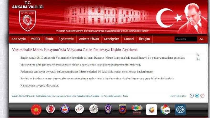 Ankara metro istasyonunda patlamayla ilgili açıklama