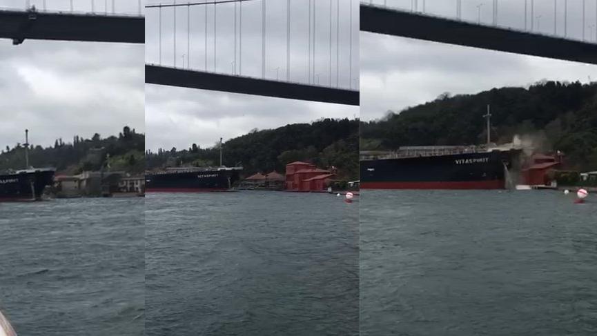 Boğaz'da tanker yalıya çarptı: İşte o anlar