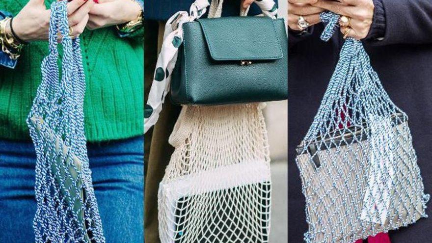 Pazarda kullanılan file çantalar sokak stiline sıçradı