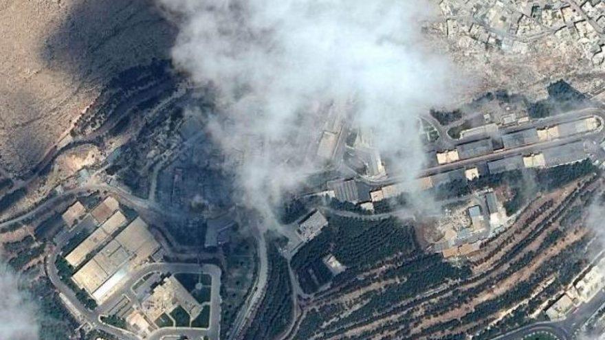 Suriye'nin vurulduğu noktalar uydudan gözüktü