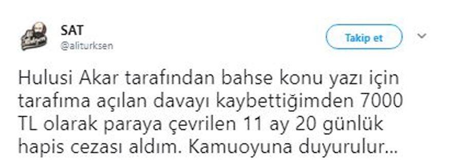 Alınan kararı Ali Türkşen, kendi sosyal medya hesabından paylaştı.