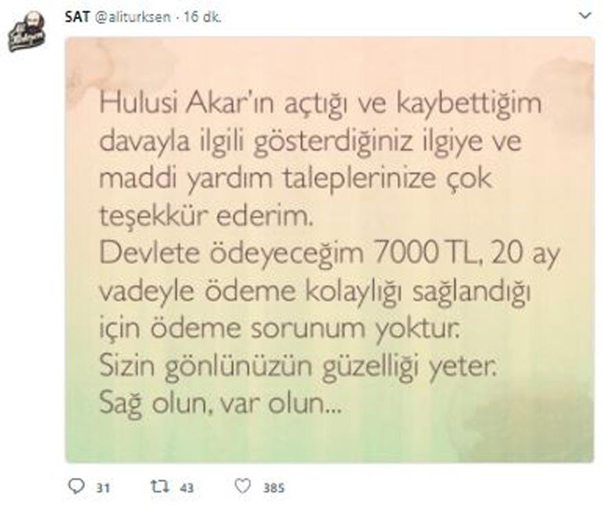 Kaybettiği davayla ilgili gelen tepkiler ve yardım talepleri için Ali Türkşen teşekkür paylaşımında bulundu.