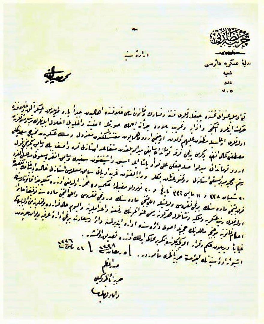 Padişah Vahdettin'in Atatürk ve arkadaşları hakkında 11 Mayıs 1920'de verilen gıyabi idam kararını onaylayan iradesi. (24 Mayıs 1920). İdam gerekçesi, 'Kuvayı Milliye adı altında çıkardıkları fitne ve fesat.'