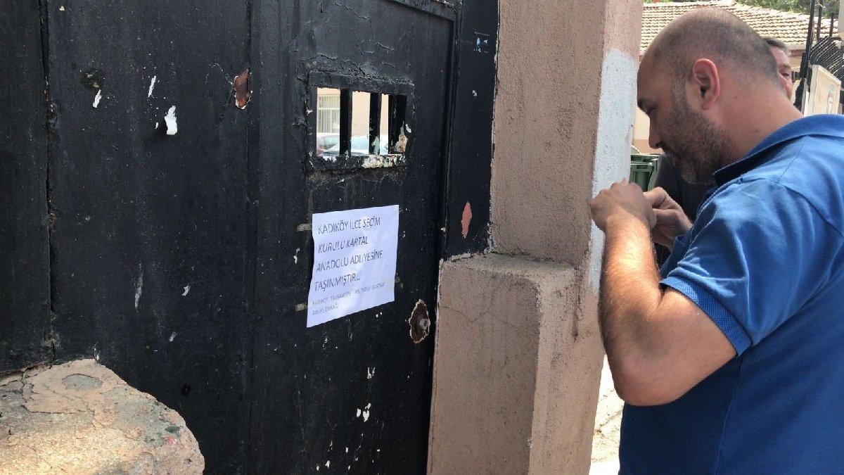 FOTO:SÖZCÜ- Binanın taşındığı yazısını ise binanın kapısına İYİ Partililer astı.