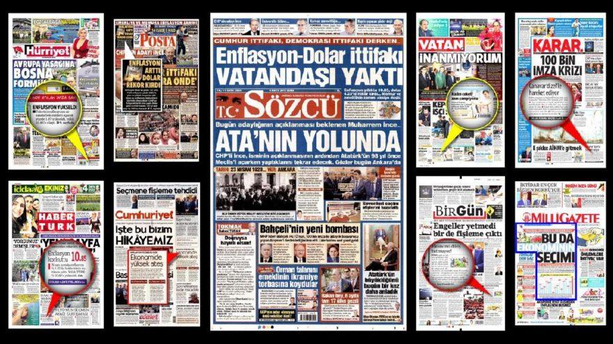 Enflasyon haberini gazeteler nasıl gördü?